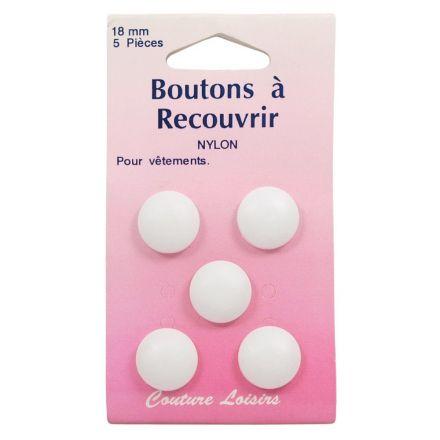 Boutons nylon de 18 mm à recouvrir x5