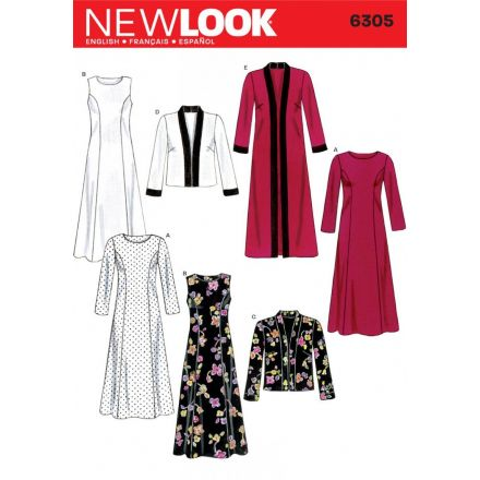 Patron New Look 6305 Robes et Vestes 2 Longueurs