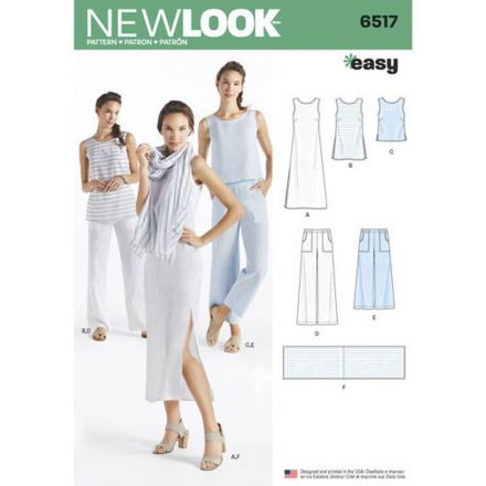 Patron New Look 6517 Pantacourt, haut et robe