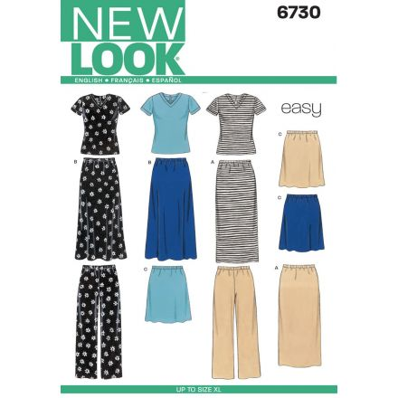 Patron New Look 6730 Jupe, Pantalon, Tee-Shirt