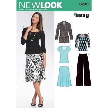 Patron New Look 6735 Ensemble Jupe/Pantalon, Tee-Shirt, Veste
