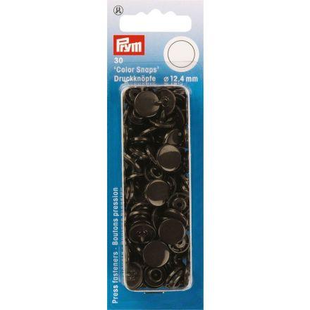 Prym 30 Boutons pression Color Snaps brun foncé 12,4 mm