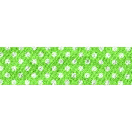 Biais imprimé coton 20 mm Vert Mini Pois Blanc x1m