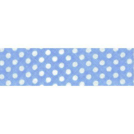 Biais imprimé coton 20 mm Ciel Mini Pois Blanc x1m