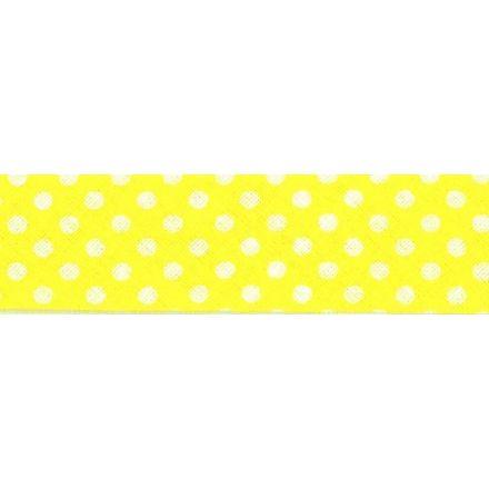 Biais imprimé coton 20 mm Jaune Mini Pois Blanc x1m