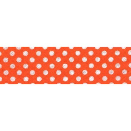 Biais imprimé coton 20 mm Orange Mini Pois Blanc x1m