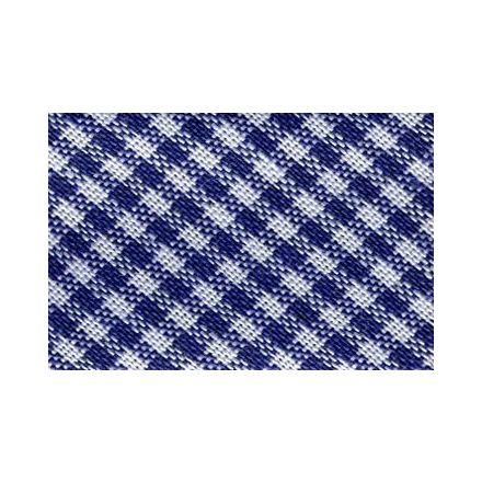 Biais tissé 20 mm Bleu nuit Petits carreaux x1m