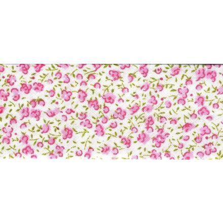 Biais imprimé 20 mm Blanc Mini fleurs Rose x1m