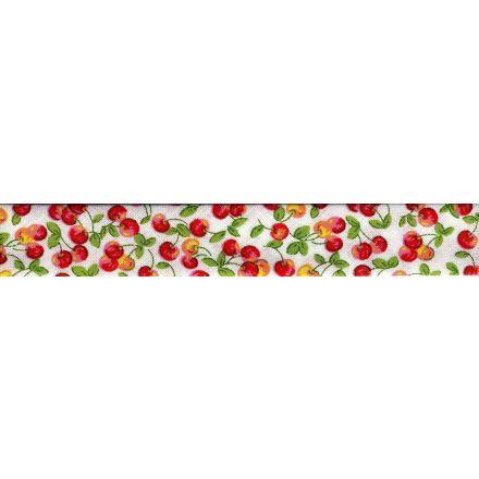 Biais imprimé 20 mm Rouge Cerises Rouge x1m
