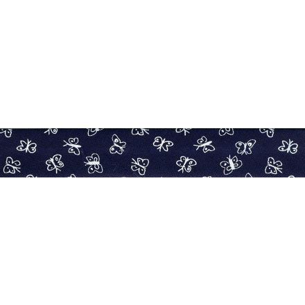 Biais replié 20 mm Bleu marine Papillons blancs x1m