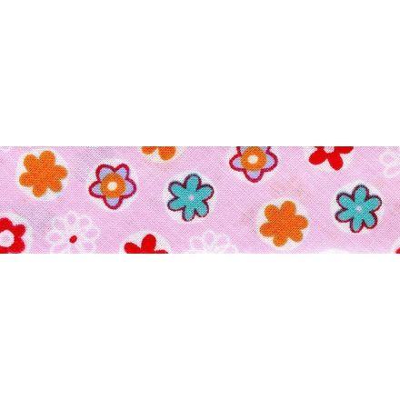 Biais replié 25 mm Rose clair Fleuris x1m