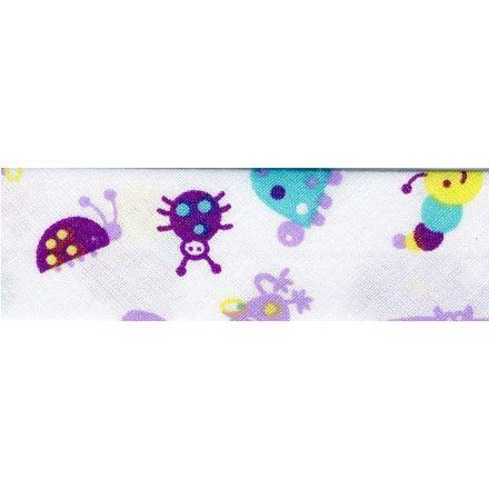 Biais replié enfant 25 mm Violet Animaux x1m