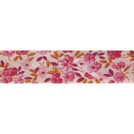 Biais replié fantaisie 20 mm Rose Fleuris x1m