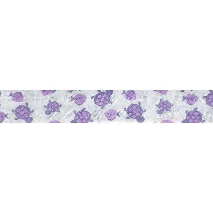 Biais replié 20 mm Violet Poissons et tortues x1m