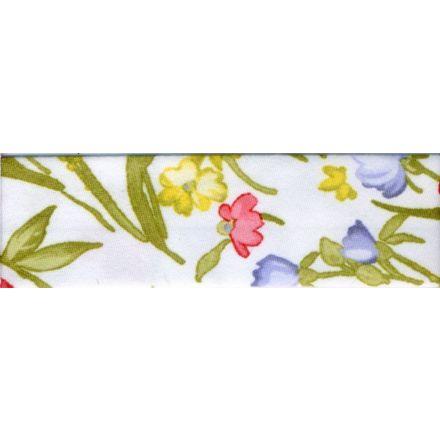 Biais replié 18 mm Blanc Fleuris x1m