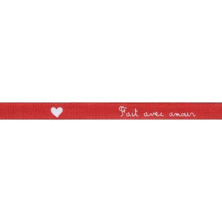 Ruban imprimé Rouge Fait avec amour Blanc x1m