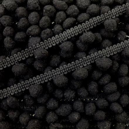 Galon Petit pompon Noir - Au mètre
