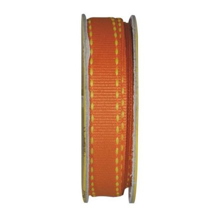 Ruban surpiqué Orange - bobinette 2m