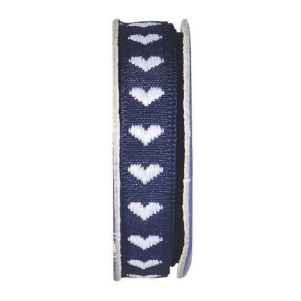 Ruban coeur  Bleu nuit - bobinette 2m