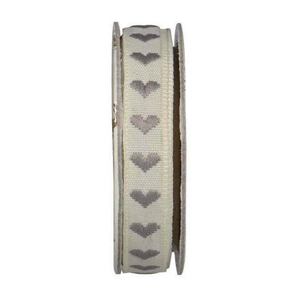 Ruban cœur Vanille - bobinette 2m