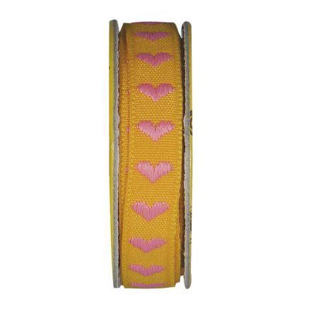 Ruban cœur Jaune orangé - bobinette 2m