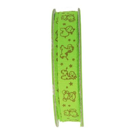 Ruban imprimé animaux Vert - bobinette 2m