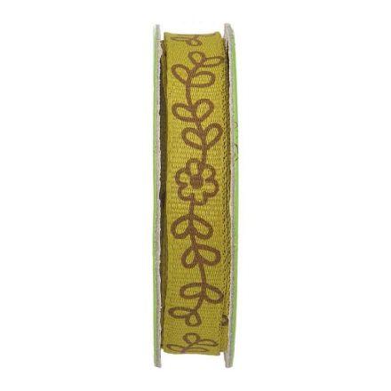 Ruban imprimé fleurs Kaki - bobinette 2m