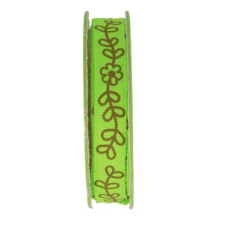 Ruban imprimé fleurs Vert - bobinette 2m