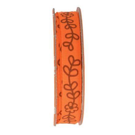 Ruban imprimé fleurs Orange - bobinette 2m