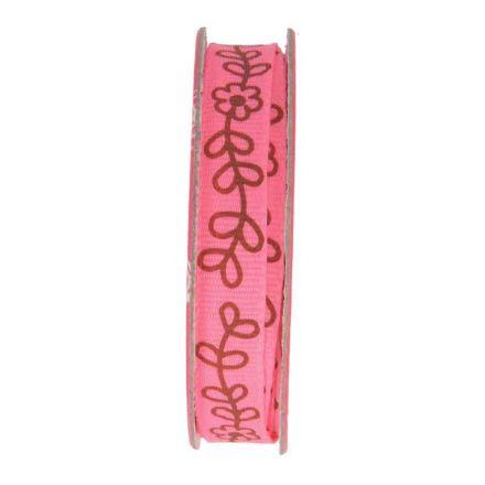 Ruban imprimé fleurs Rose - bobinette 2m