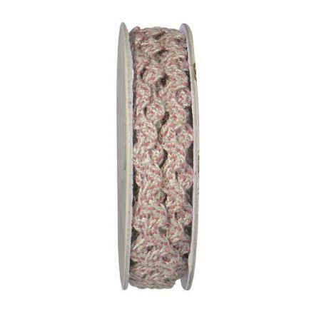 Serpentine tressé Beige et rose - bobinette 2m