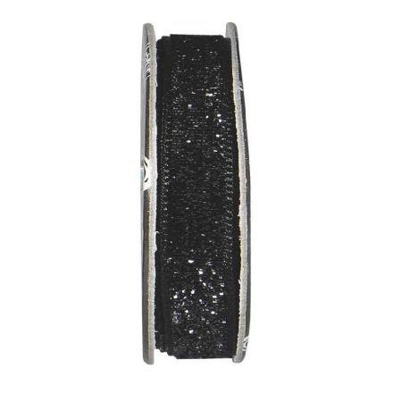Ruban velours paillettes Noir - bobinette 2m