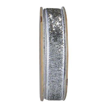 Ruban velours paillettes Argent - bobinette 2m