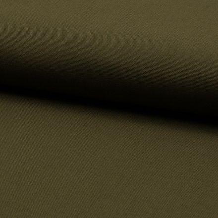 Tissu Coton Sergé d'ameublement uni Kaki - Par 10 cm