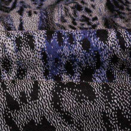 Tissu Gianni Maille Pull Marine Tigré  Pervenche et blanc - Par 10 cm