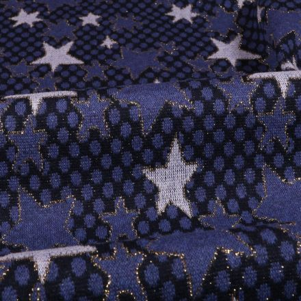 Tissu Gianni Maille Lurex Bleu marine Etoiles et pois Blanches et pervenche - Par 10 cm