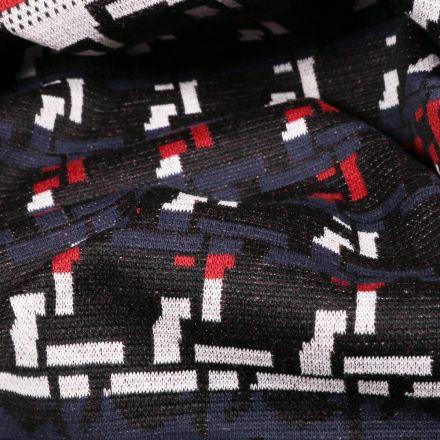 Tissu Gianni Maille Extensible Noir Tetris Rouges et bleus - Par 10 cm
