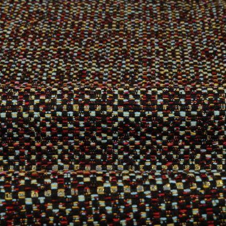 Tissu Gianni Jacquard Rouge et bleu Lignes pointillées Vertes - Par 10 cm