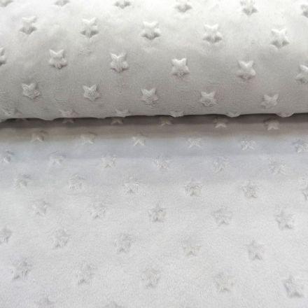 Tissu Minky Ultra doux Etoiles Gris clair x10cm