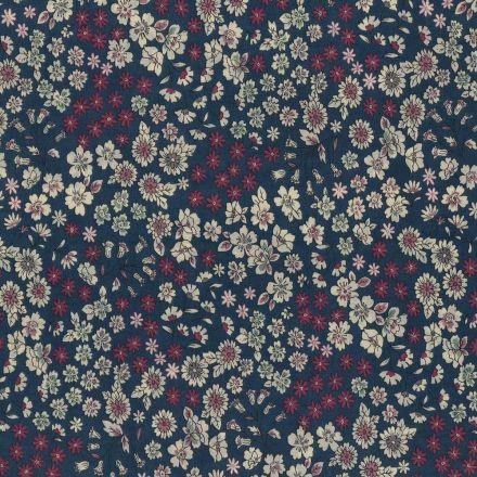 Tissu Coton Frou-Frou Fleuri N°7 Bleu foncé et ecru - Par 10 cm