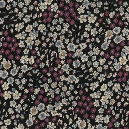 Tissu Coton Frou-Frou Fleuri N°9 Noir et ecru - Par 10 cm