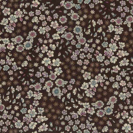 Tissu Coton Frou-Frou Fleuri N°10 Marron et ecru - Par 10 cm