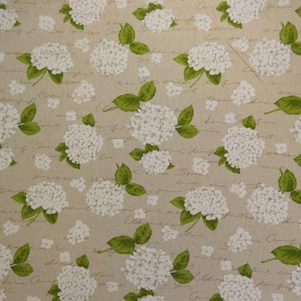 Tissu Toile Coton Beige Grosses Fleurs blanc x10cm
