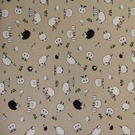 Tissu Toile Coton Beige Moutons x10cm