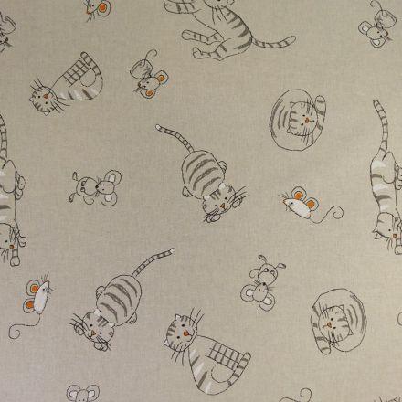 Tissu Toile Coton Beige Chats et souris x10cm