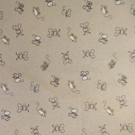 Tissu Toile Coton Beige Souris x10cm