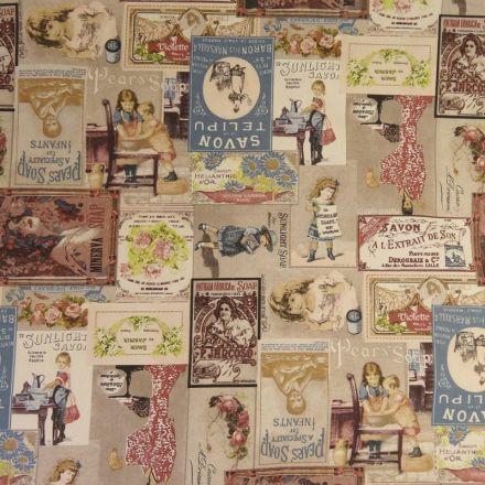 Tissu Toile Coton Beige Vintage Multicolore x10cm