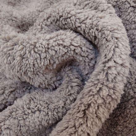 Fausse fourrure mouton Taupe - Par 10 cm