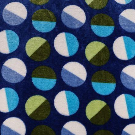 Tissu Doudou Bleu nuit Ronds Verts et bleus - Par 10 cm