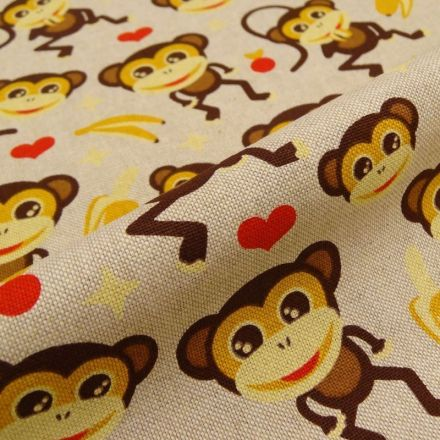 Tissu Toile Coton Beige Singes espiègles x10cm